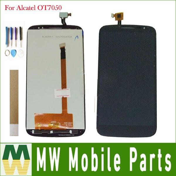 Para Alcatel One Touch Pop S9 OT7050Y OT7050 7050y LCD pantalla táctil Sensor de cristal montaje de Color negro con cinta y herramientas