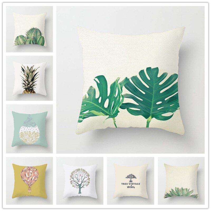 Houspace Polyester Peach Skin Tropical Plant For Home Pillow Decor Sofa Car Decorative Gift Chair Seat Pillow Case Cushion Cover