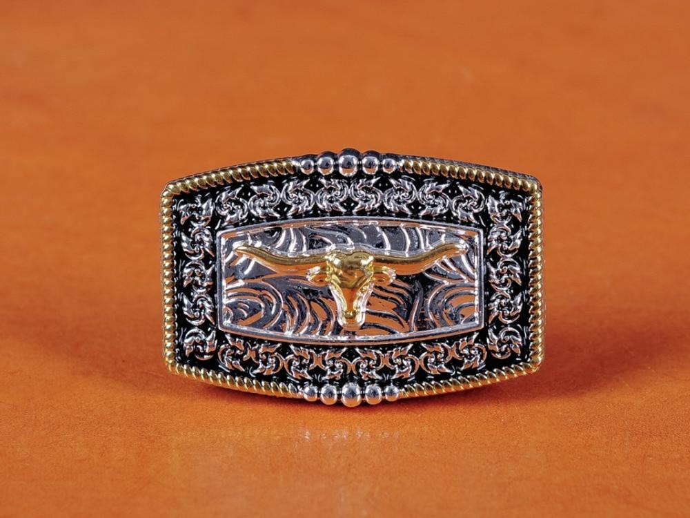 5PC 45*30mm Western Cowboy Cowgirl Texas Flower Gold Bull Longhorn&Side Horse Saddles Leathercraft Belt Hatband Diy CONCHOS Set