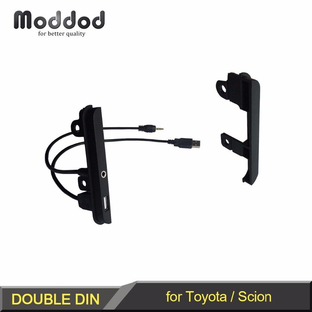 Двойной Din Dash набор для Toyota Scion транспортных средств с AUX + USB порт Радио Установка Боковая Отделка фасции рамка пластина