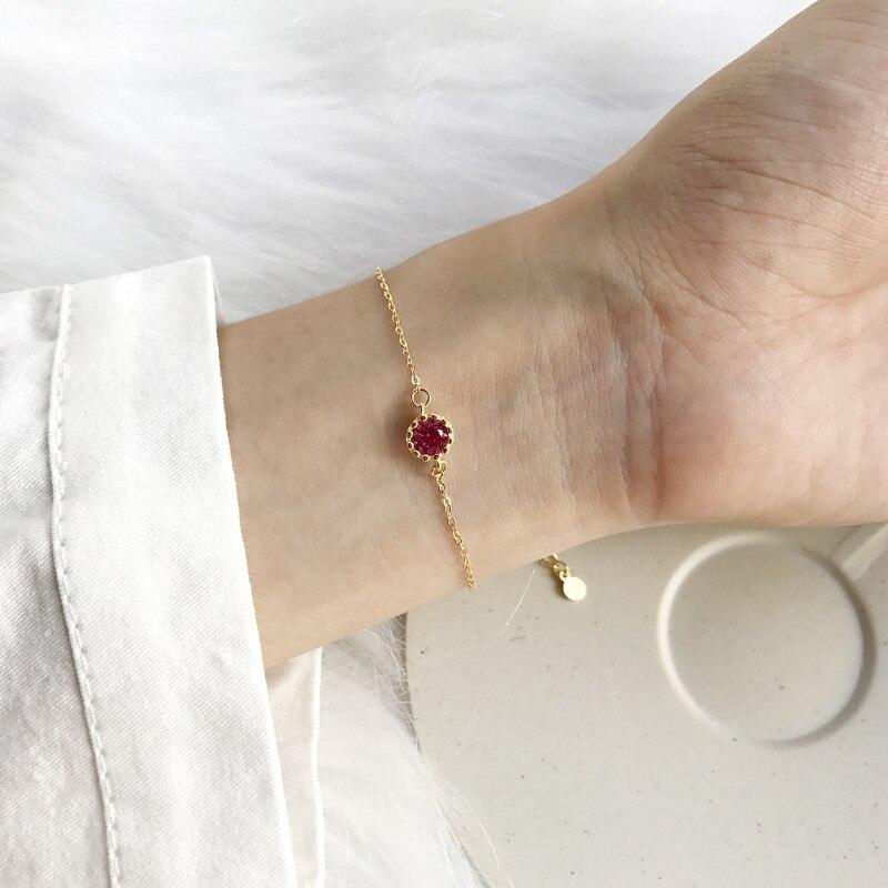 PINJEAS, corona de plata de ley S925 hecha a mano, Corindón rojo, simple, geométrica, fina, pulsera, regalo para mujer, joyería