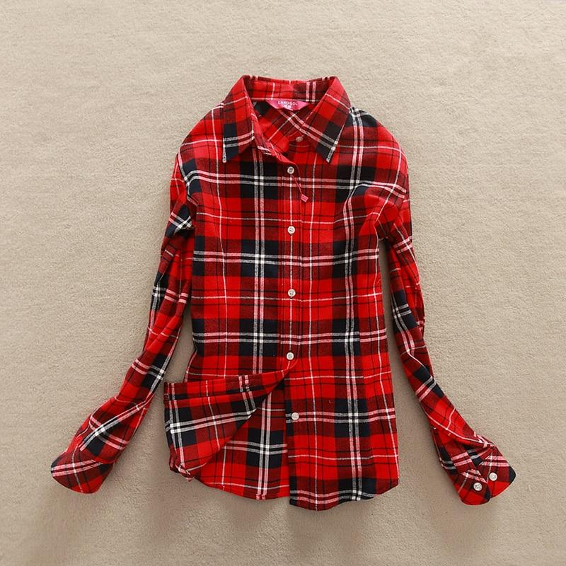 FEKEHA 2019 New Autumn Long Sleeve Womens Cotton Plaid Shirt Turn Down Collar Shirt Blusas Feminino Ladies Blouses Tops Fashion