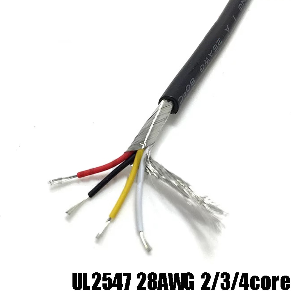 سلك موصل محمي 300m UL2547 متعدد النواة 4 كور 28AWG كابل اتصال إلكتروني لإشارة الصوت رمادي/أسود