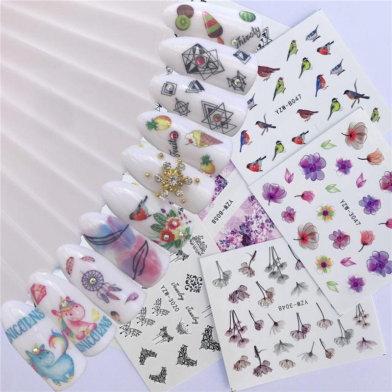 10 видов стилей мороженое/кошка/черный и белый бант дизайн ногтей переводные наклейки DIY Советы