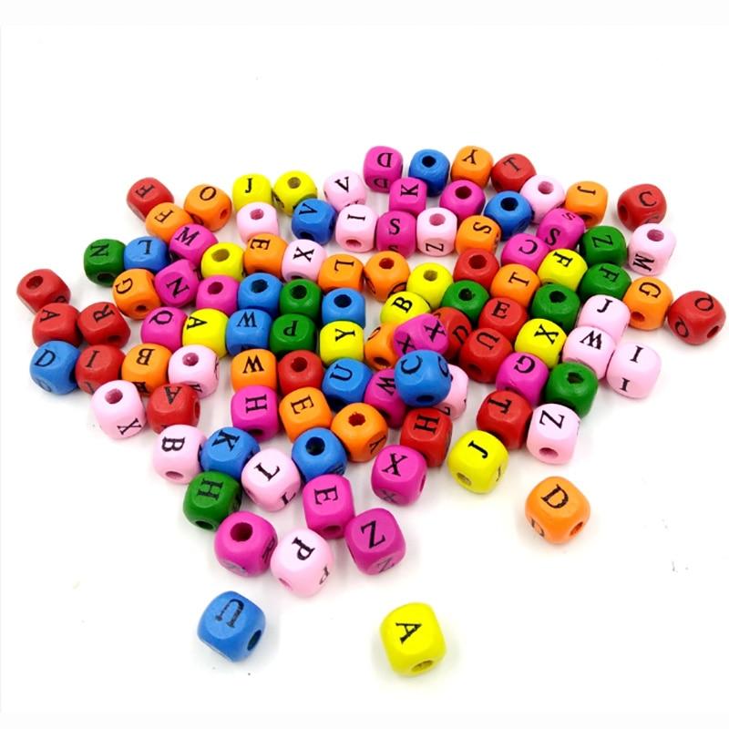 100 шт./компл., маленький размер, сделай сам, цветные квадратные буквы 10 мм, алфавит, заклинание, слова, настольные игры, аксессуары для игр