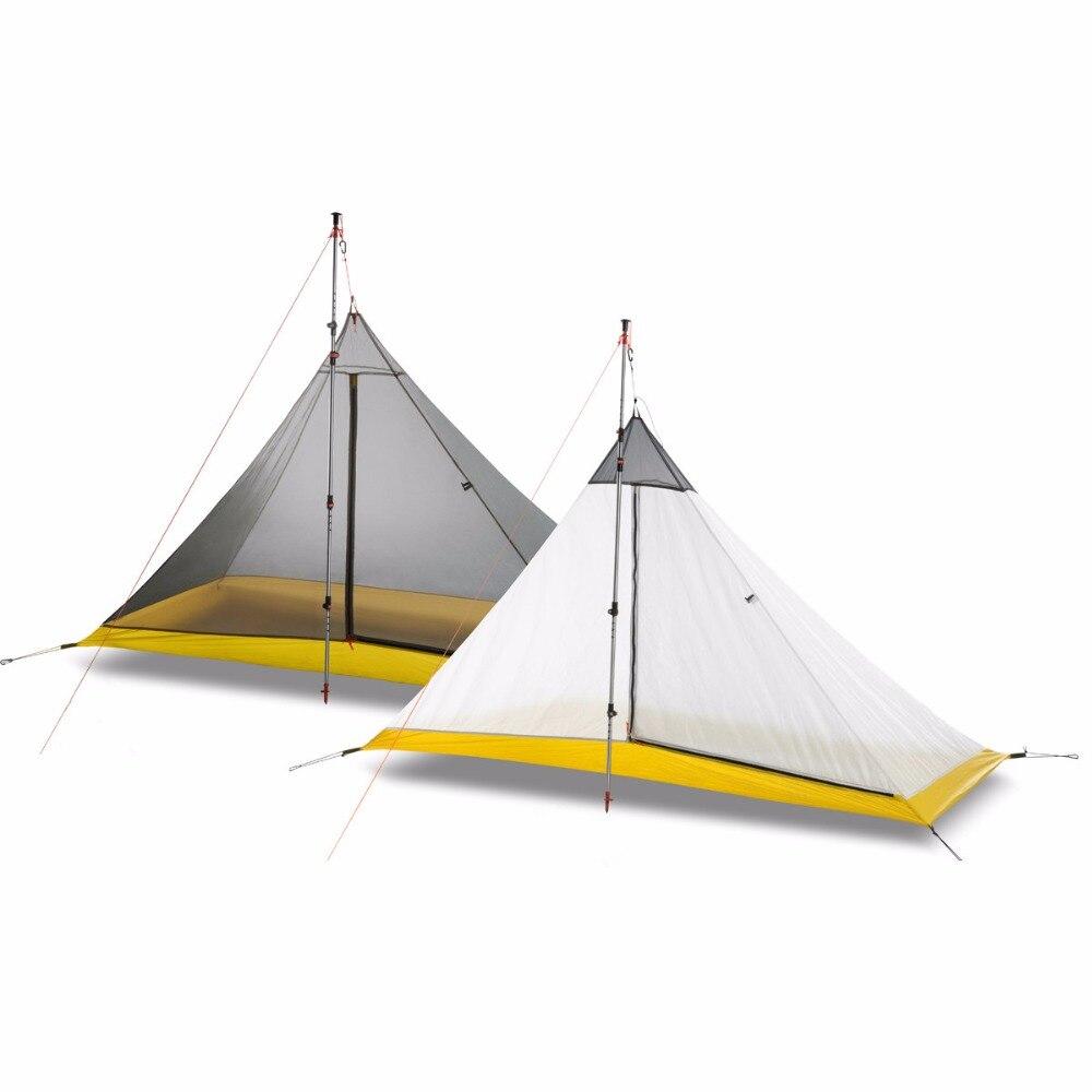 FLAMES CREED ultraléger 1-2 personne revêtement en silicone tente intérieure été en plein air 3 saisons camping tente pyramide sans tête grande tente