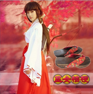 Anime Inuyasha Kikyo Kimono conjunto completo Cosplay disfraz Halloween traje Top + falda + zuecos + Calcetines
