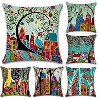sbb colorful cartoon village hand painted beautiful llinen cushion cover printed throw pillows cases home sofa seat decor 45cm
