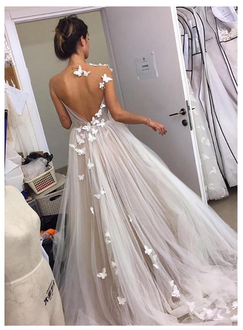 Купить с кэшбэком LORIE Beach Wedding Dress 3D Flowers Vestidos de novia Vintage White Ivory Puff Tulle Bridal Dress floor Length Wedding Gowns