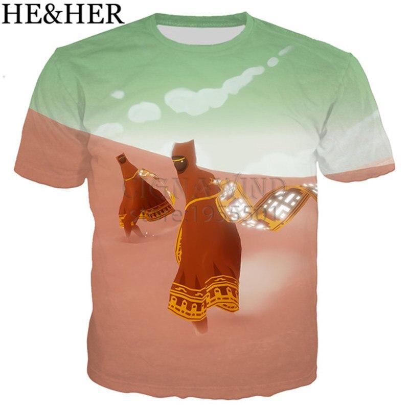 Nueva llegada popular del juego de dibujos animados journey camiseta hombres/mujeres 3D estampado camisetas casual hip hop estilo camiseta streetwear verano tops