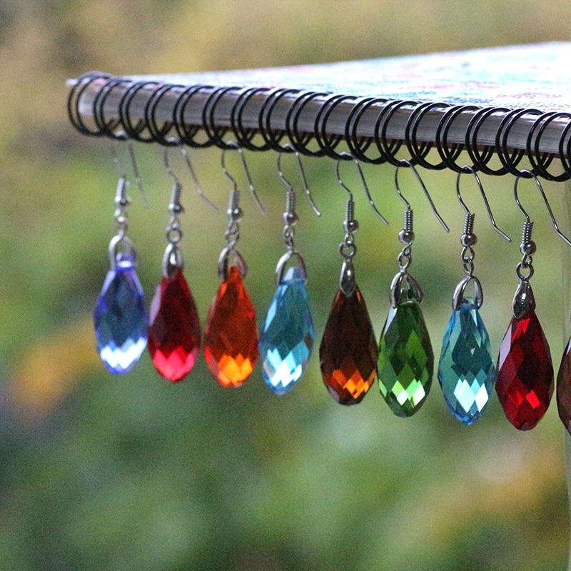ZHUBI, pendientes de cuentas de cristal con diseño de lágrima de lujo, joyería de moda de 12x25mm, 1 par de pendientes de gota de agua de Color rosa para mujer