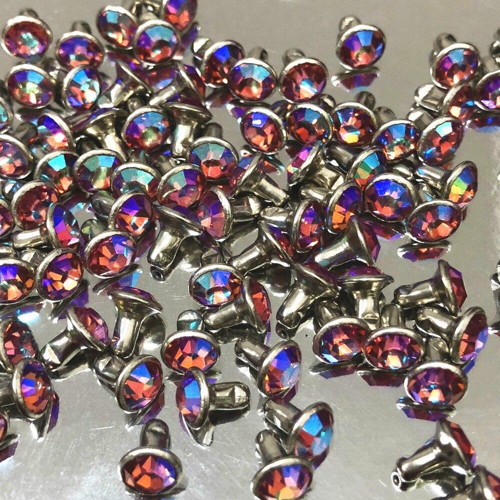 4mm 50 conjuntos cz + + luz rosa ab cristal ab chapeado rebite prata chapeado rebites de cabochão sortidas apto para couro-ofício