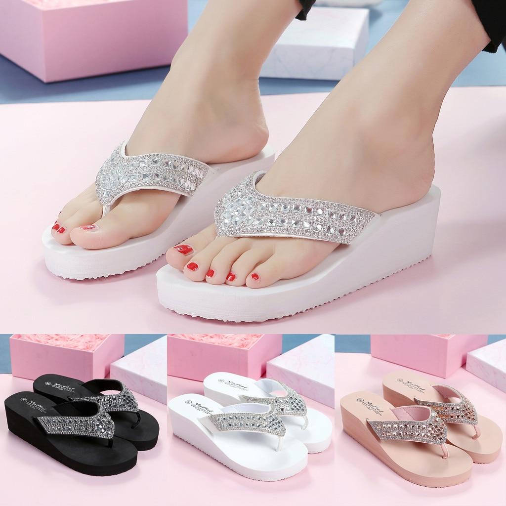 Slippers Rhinestones Wedges Flip Flops High heels Wedges Platform  Women's Casual Beach Sandals Zapatos Mujer
