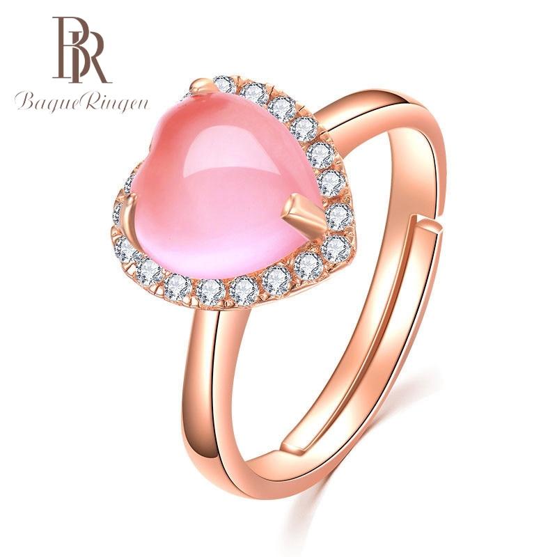 Anillo ajustable de cuarzo rosa de Bague Ringen gemas de corazón, joyería de plata de Ley 925 para boda de mujer