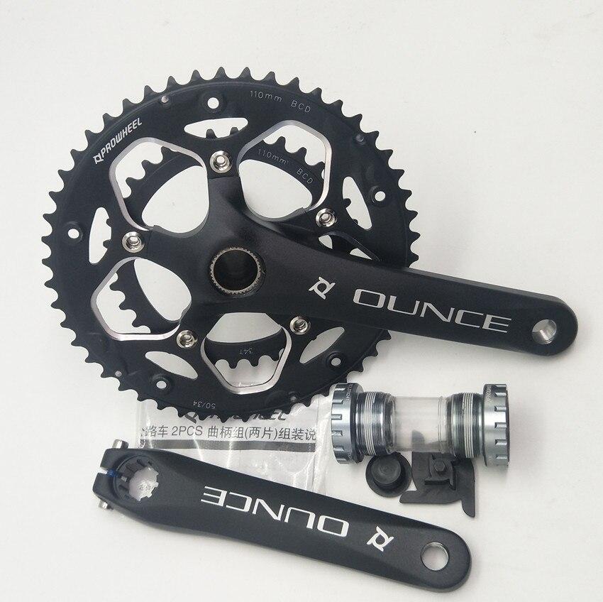 Алюминиевый сплав велосипед фиксированная Шестерня коленчатый набор 170 мм 110 BCD горный велосипед CNC полый кривошипный цепной круг 34-50T кронштейн
