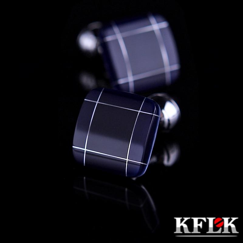 KFLK jewelry fashion shirt cufflinks for mens gift Brand cuff links buttons Blue High Quality abotoaduras gemelos guests
