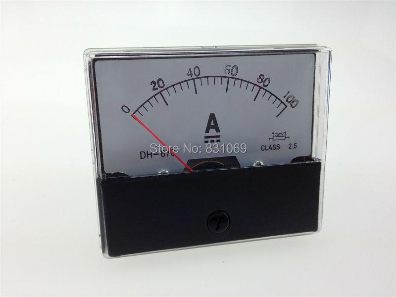1 шт. DH670 DC 0-100A 100A аналоговая панель амперметр тока новый бренд