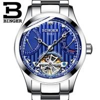 Genuine Luxury BINGER Brand men automatic mechanical self-wind sapphire watches calendar waterproof full steel hollow