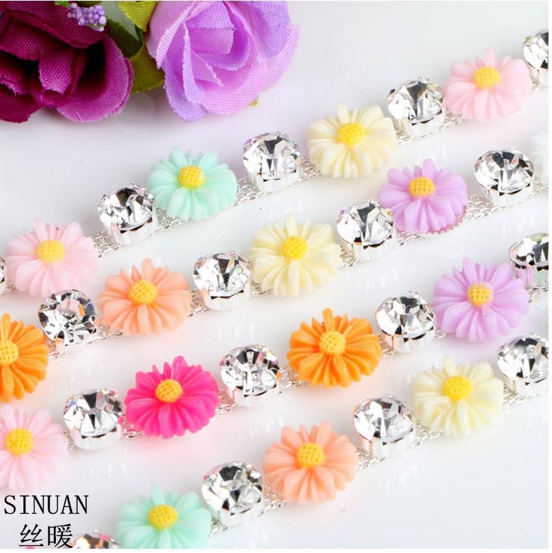 Cadena de diamantes de imitación de SINUAN yarda coser cinta de resina de cristal strass artesanías de resina multicolor flores piedras de cristal para ropa