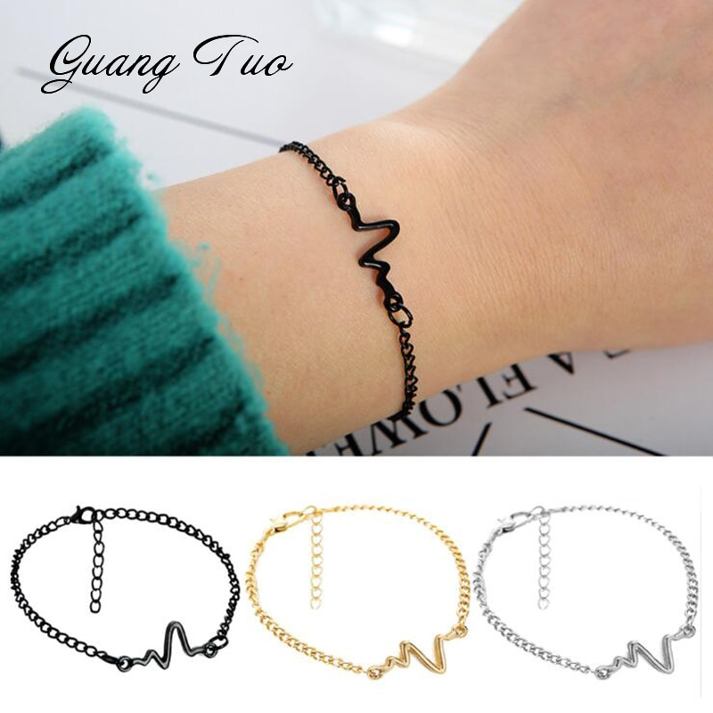 New Listing Fashion Personality Simple Ecg Design Ray Diagram Bracelet Frequency Beat 1 Love Heart Gift