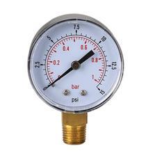 Low Pressure Gauge for Fuel Air Hydraulic 50mm 0/15 PSI 0/1 Bar 1/4 BSPT Air Compressor Meter Hydraulic Pressure Tester Scale