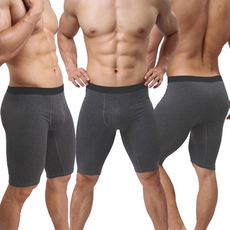 Ropa interior sexi para hombre, calzoncillos cortos de algodón, Cuecas sólidas, cintura media, bolsa convexa en U, bragas de pierna larga, calzoncillos masculinos, calzoncillos M-XL