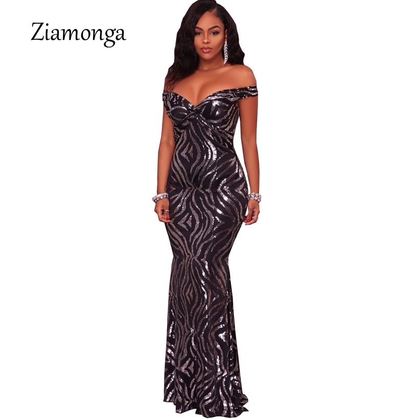 Ziamonga Sexy błyszczące cekiny Maxi sukienka na imprezę Off ramię długie syrenka piętro długość Retro suknia wieczorowa sukienka kobiety długie Vestidos