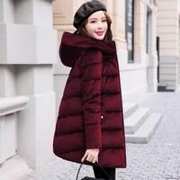 cotton jacket women casual long coat winter korean fashion slim hooded thick gold velvet parka coat zipper classic outwear f1219