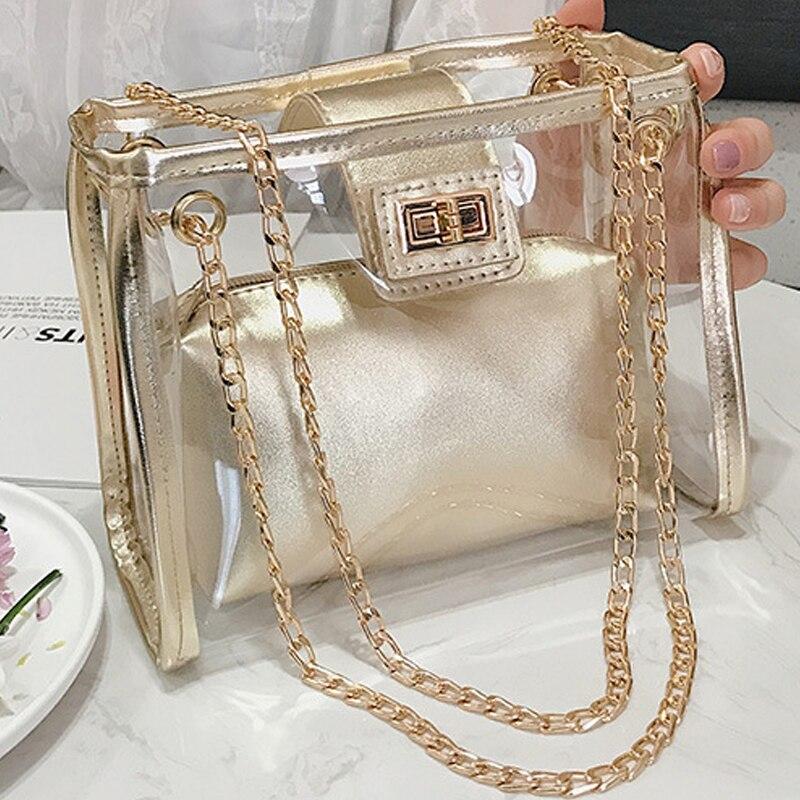 Chain Transparent Bag Women Laser purse Bag Ladies clutch  Shoulder Bags PVC Crossbody Female Transparent Sac 2019 handbags