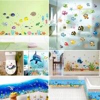 Autocollants muraux de dessin anime poisson Sealife  pour enfants  chambre a coucher  salle de bains  decoration de maison  etanche  Animal  plinthe  Art Mural  bricolage