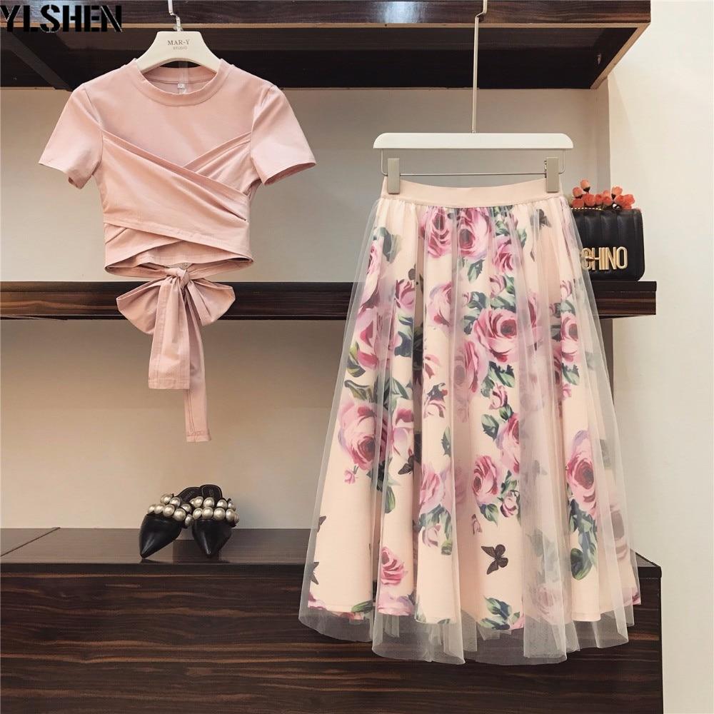 Plus Size 2 Two Piece Set Women Irregular T Shirt+Mesh Skirts Suits Bowknot Tops Vintage Floral Skirt Sets for Elegant Woman