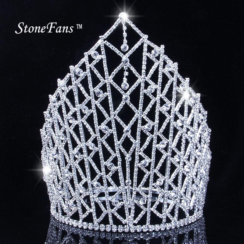 "Royal Brides 9"" Tiara Bridal Wedding Crowns Hair Combs Clear Rhinestone Crystal Headband Beauty Pageant Prom Jewelry"