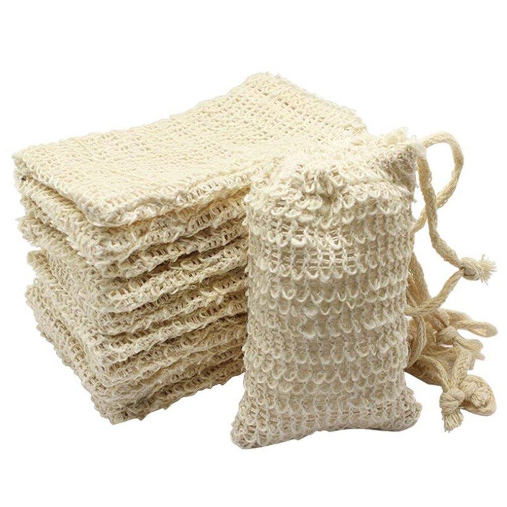 Paquete de 10 bolsas de jabón Sisal Natural, bolsa de jabón exfoliante, funda cartuchera