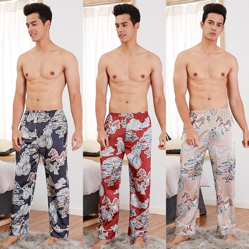 2019 New Style Mens Long Trousers Spring Summer Casual Silky Home Wear Male Sleep Pyjama Bath pants L XL XXL