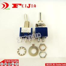 Mini interrupteur à levier   Modèle Miniature, commutateur à bascule, SPDT 6A 125VAC/3A 250VAC, 6 broches sur-OFF, livraison gratuite 20 pièces/lot