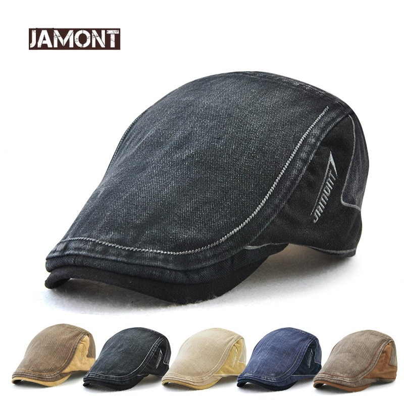 JAMONT 2018 nuevo algodón Retro estilo Visor hombres gorras boinas sombrero hombres gorra con visera carta parche adulto boina Casual Flat sombreros Casquette