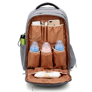 Вместительный рюкзак для мам, Одноцветный водонепроницаемый рюкзак для детских подгузников, сумка для детских колясок, многофункциональная сумка для мам и новорожденных MBG0250
