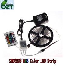 Listwy RGB LED 5M 300Led 3528 SMD 24Key IR pilot zdalnego sterowania 12V 2A zasilacz elastyczne światło taśma Led domu lampy dekoracyjne