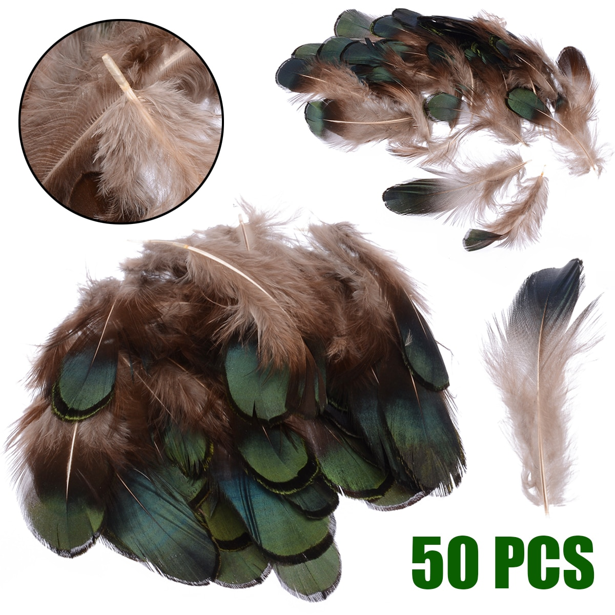 50 Uds verde Natural faisán plumas de cola de gallo plumas 2,5x7 cm para ropa, costura decoración DIY