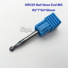 2F R2.0 * 4*7*50, zwei flöte Spiral Bit Fräswerkzeuge, hartmetall Kugelfräser, das drehwerkzeug, bohrstange, cnc fräser maschine