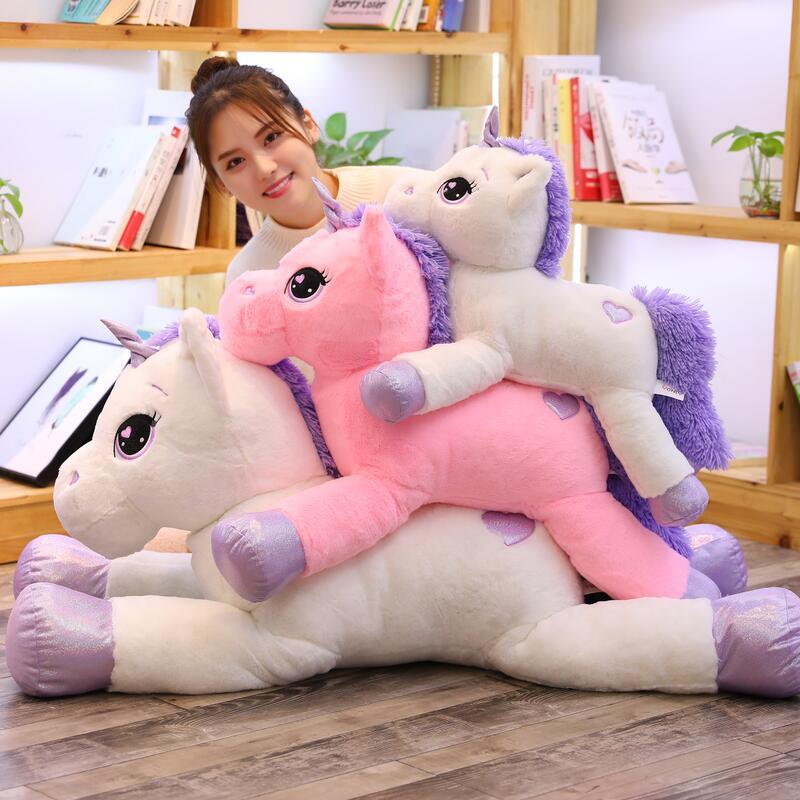 2019 chegada nova grande unicórnio brinquedos de pelúcia bonito rosa branco cavalo macio boneca animais de pelúcia brinquedos grandes para crianças presente aniversário