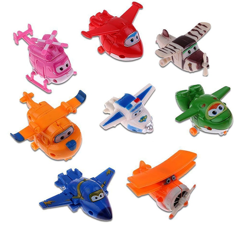 8pcs/set Newest Super Wings toys Mini Planes Transformation Robot Action Figures toys baby toys For Children Gift Brinquedos