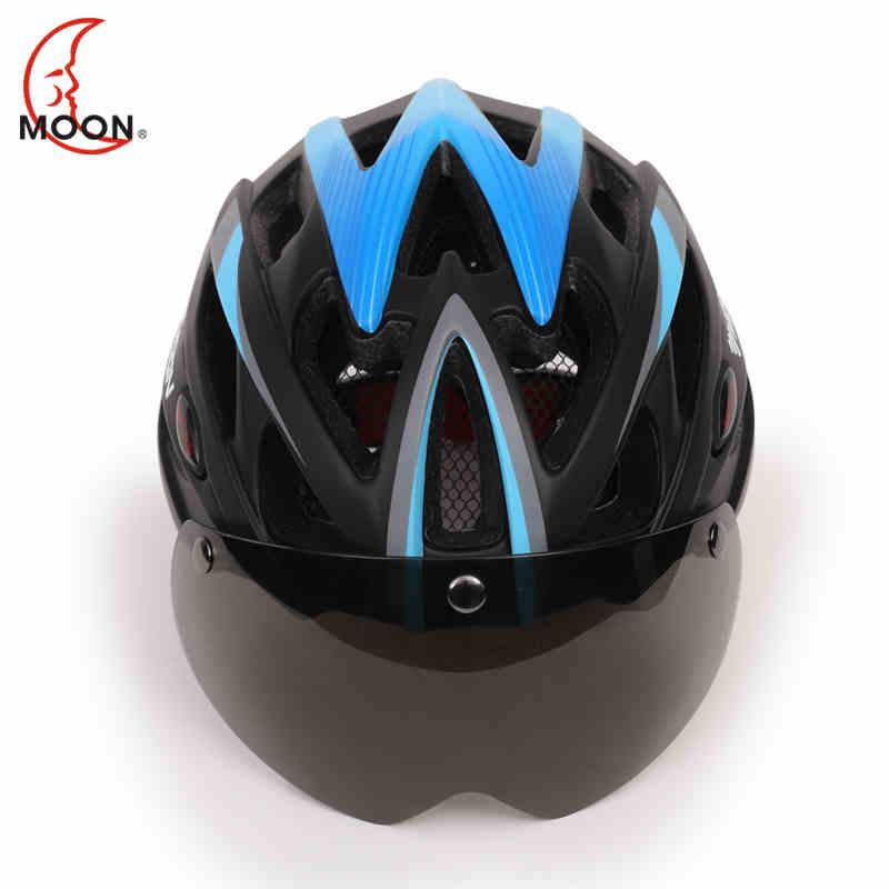 Luna nuevos deportes al aire libre bicicleta de carretera casco de bicicleta de montaña equipos con lente desmontable somos fabricante