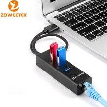 Zoweetek USB Hub USB 3,0 zu RJ45 Gigabit Ethernet Wifi Adapter Lan Netzwerk Karte 10/ 100/100 0Mbps 3 Ports für Windows XP 7/8/10