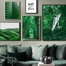 Jungle plantes vertes cascade citation mur Art toile peinture nordique affiches et impressions photos murales pour salon décor à la maison
