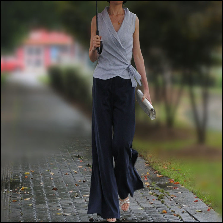 100% des 2015 nouveaux produits dété répertoriés, fibre naturelle, tencel, styliste original femmes pantalons à jambes larges