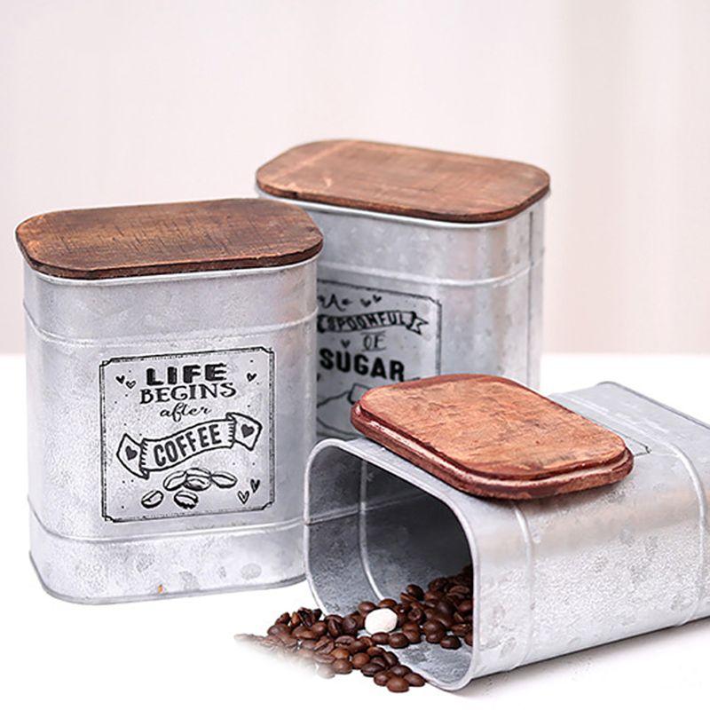 Hojalata + madera Vintage Metal cuadrado caramelo baratija cajas de lata para almacenar con cubierta de madera latas café té condimento caja de joyería