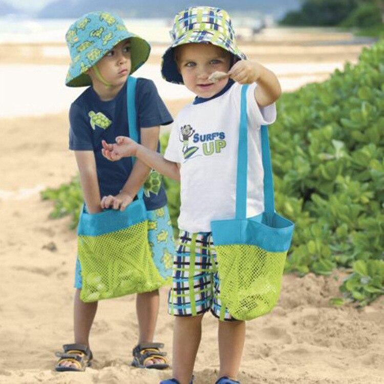 Bolsa de red de juguete para niños, bolsa de arena para bebé, concha de playa, casa bolsa de almacenamiento, mochila para juguetes portátil con un solo hombro, bolsa de Buggy