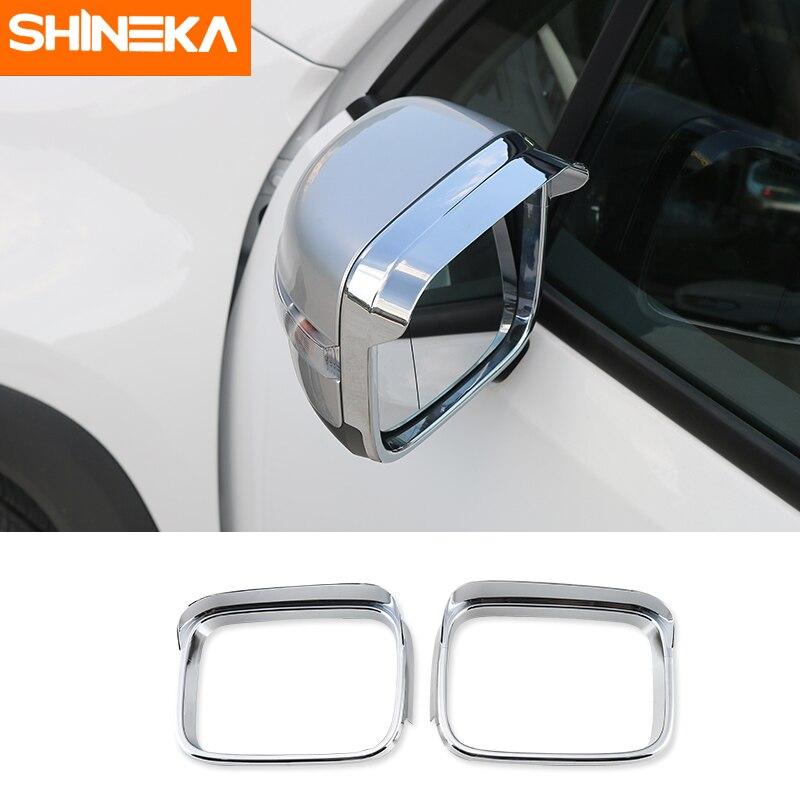 SHINEKA, decoración de espejo retrovisor Interior para coche, molduras de Marcos, pegatina, protector de lluvia para Jeep Renegade 2015-2016