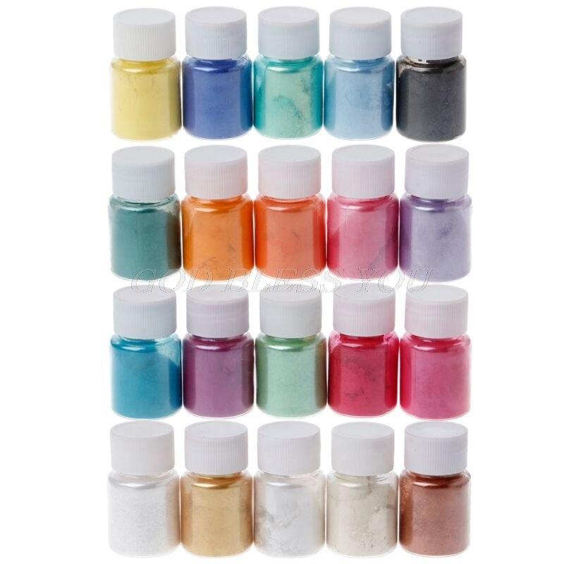 Polvo de Mica en 20 colores, pigmento de resina epoxi, pigmento de perla, polvo Mineral de Mica Natural, polvo colorante de jabón hecho a mano